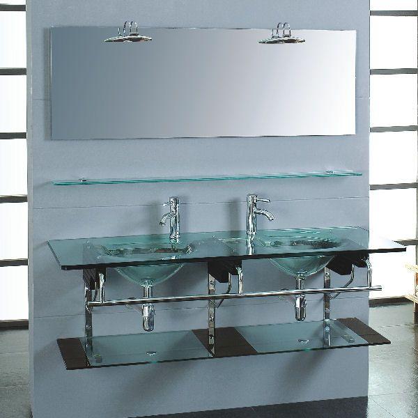 Quartz ultra contemporary double glass vanity set reviewing modern bathroom vanities for Ultra bathroom vanities burbank